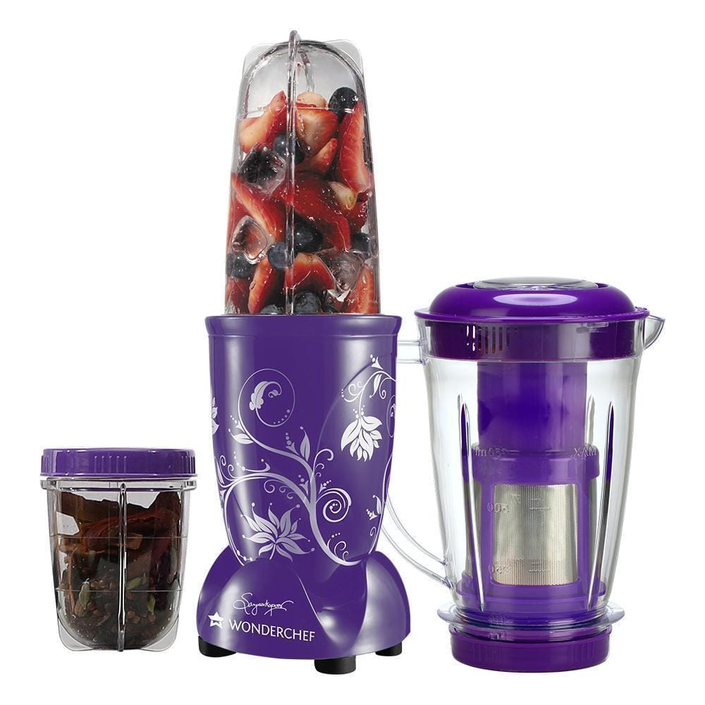 Nutri-Blend 22000 RPM Mixer-Grinder, Blender, SS Blades, 3 Unbreakable Jars With Juicer Attachment, 2 Years Warranty, 400 W-Purple, Online Recipe Book By Chef Sanjeev Kapoor