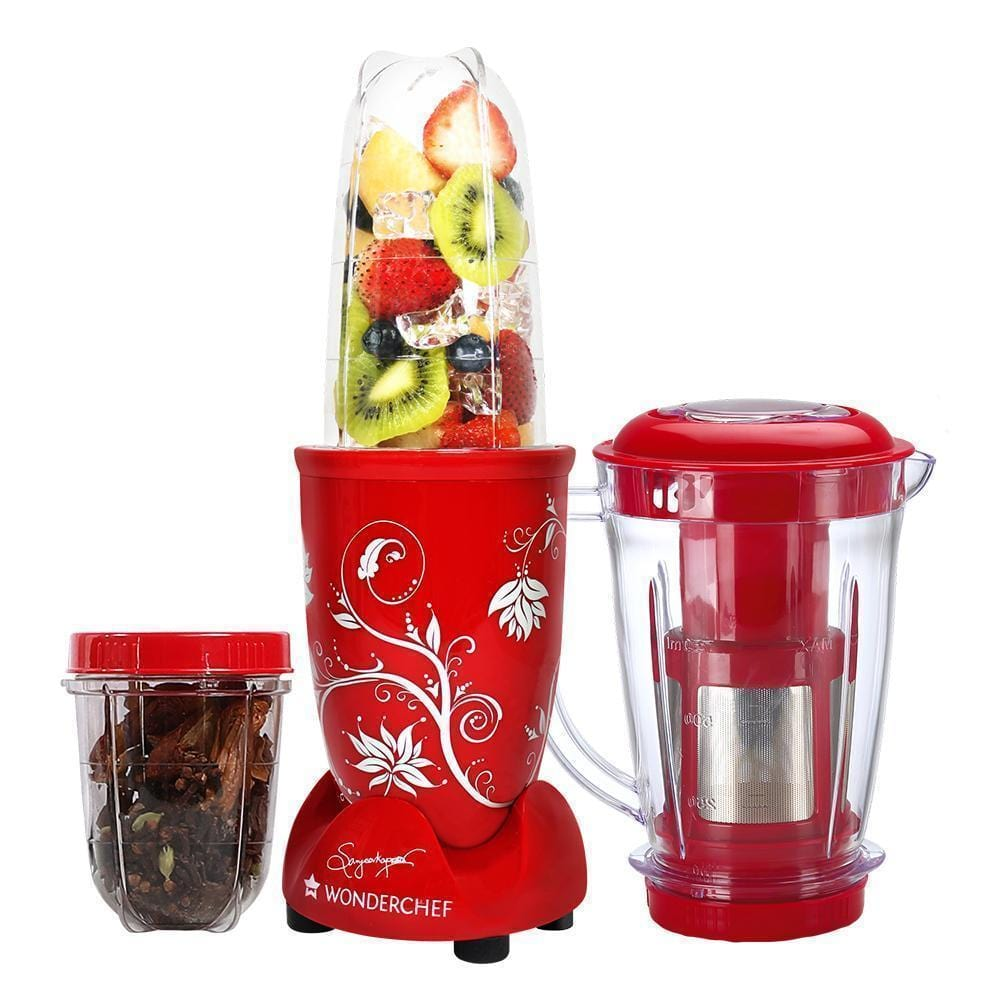 Wonderchef Nutri-Blend Mixer Grinder 3 Jars With Juicer Attachment-Red