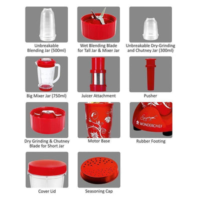 Nutri-Blend Mixer Grinder 3 Jars With Juicer Attachment, 400W-Red-Appliances
