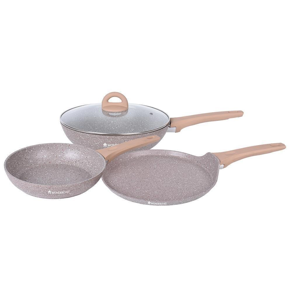 Wonderchef Cream Marble Set-Cookware