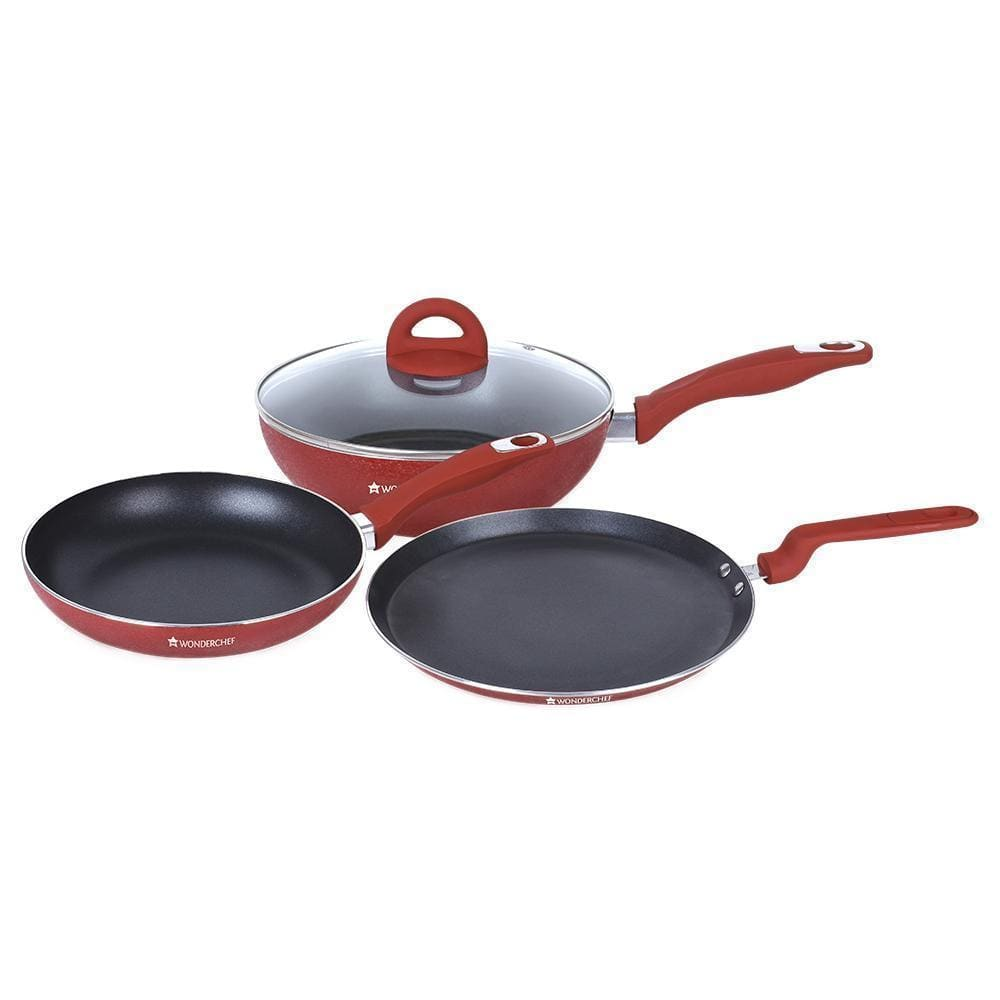 Crystal Aluminium Nonstick Cookware Set, 4Pc, Red