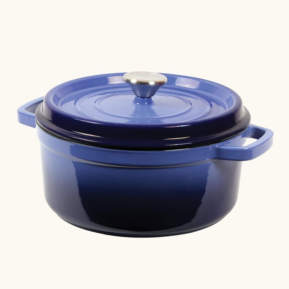 Ferro Cast Iron Casserole with Lid 24cm Blue
