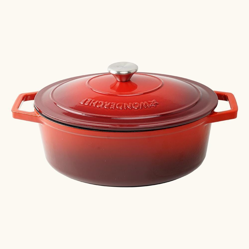 Ferro Cast-iron Oval Casserole with Lid- 29cm, 4.4L,  3.5mm, Red