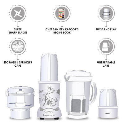 Nutri-Blend Complete Kitchen Machine (CKM) - (Mixer, Grinder, Juicer, And Chopper), 400W-White-Appliances