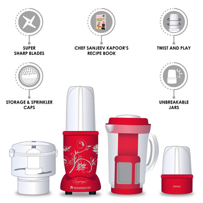 Nutri-Blend Complete Kitchen Machine (CKM) - (Mixer, Grinder, Juicer, And Chopper), 400W-Red-Appliances