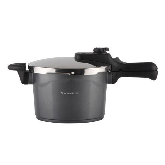 Wonderchef Black Swan Induction Base Die-cast Aluminium Nonstick Pressure Cooker with Outer Lid, 5L, Black