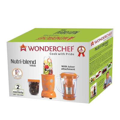 Nutri-Blend Mixer Grinder 3 Jars With Juicer Attachment, 400W- Yellow-Appliances