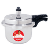 Granite Induction Base Pressure Cooker with Outer Lid, Silver with Black Handles-Cookware