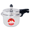 Granite Induction Base Pressure Cooker with Outer Lid, Silver with Black Handles