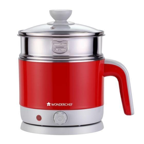 Wonderchef LUXE Multicook Stainless Steel 1.2 L Electric Kettle, 1000W, Red