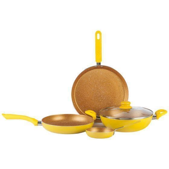 Da Vinci Aluminium Nonstick Cookware Set 5Pc, Yellow