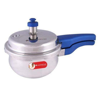 Wonderchef Nigella Induction Base Stainless Steel Handi Pressure Cooker with Outer Lid, Blue Handles-Cookware