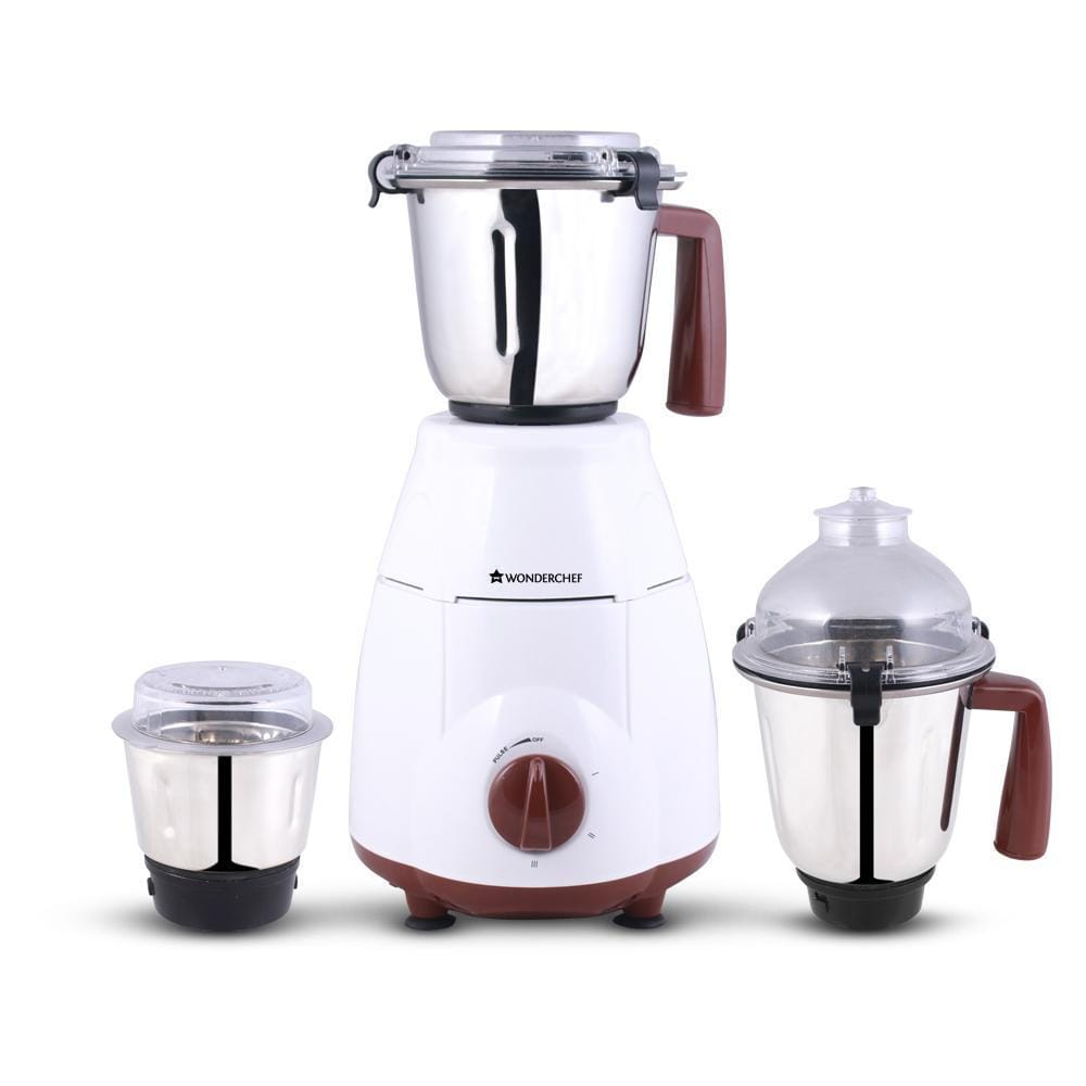 Wonderchef Amalfi 800W Mixer Grinder with 3 Jars (White & Brown)