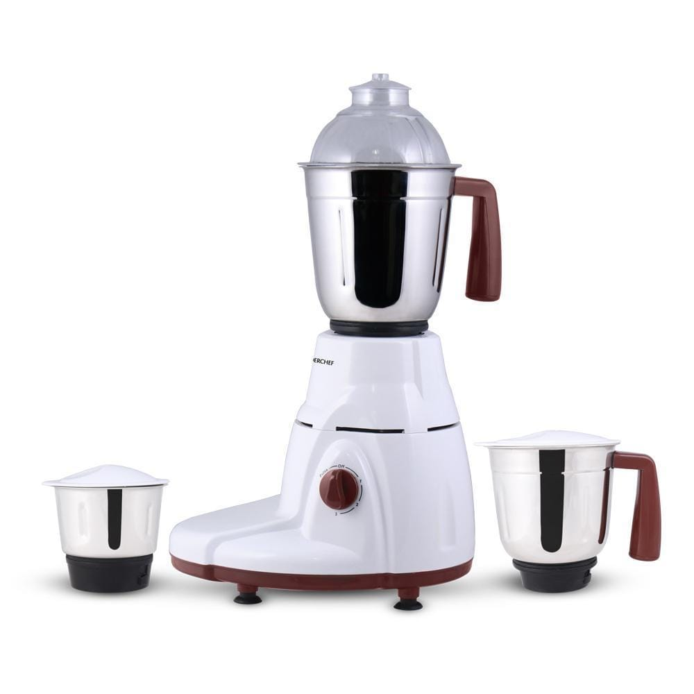 Rialto 750W Mixer Grinder with 3 Jars (White & Brown)