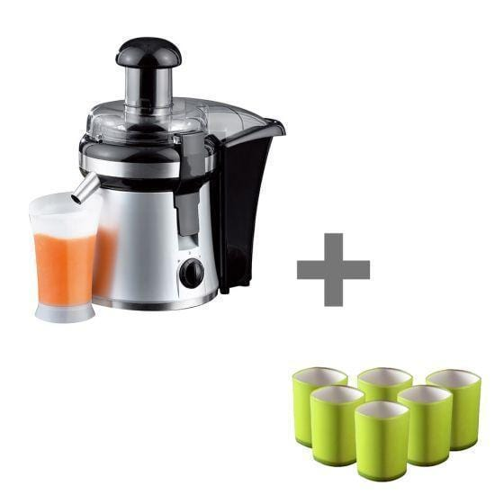Wonderchef Prato Compact Juicer 250 Watt + Servin Glass Set Of 6 Pcs - Green