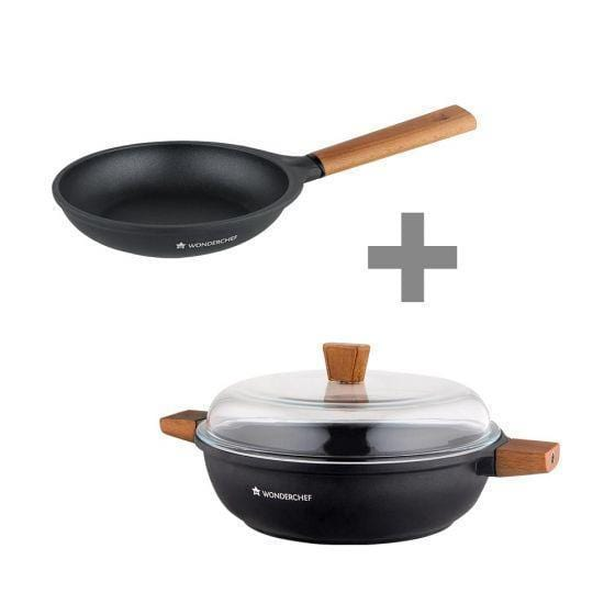Wonderchef Caesar Frying Pan With Wooden Handle 20Cm + Caesar Shallow Casserole 28Cm - 4.07L