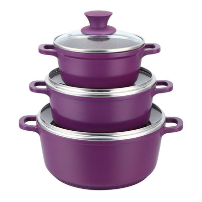 Wonderchef Granite Die-Cast Casserole 6 Pcs Set (Purple)-Cookware