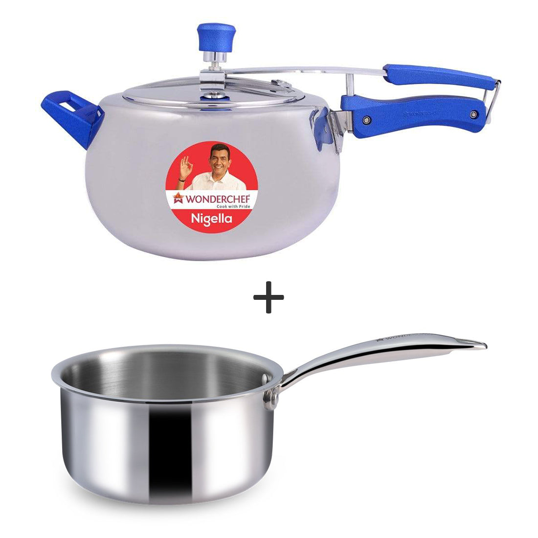 Nigella Stainless Steel Inner Lid Pressure Cooker 5L and Nigella Triply Stainless Steel Sauce Pan