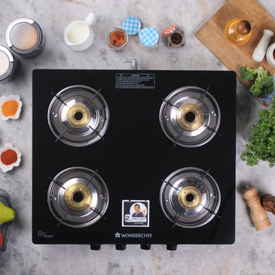 Ruby Black 4 Burner Glass Cooktop-Cookware