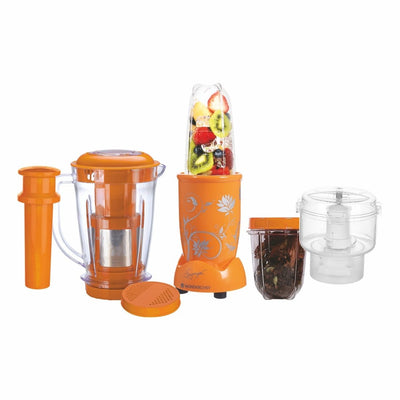 Nutri-Blend Complete Kitchen Machine, 22000 RPM Mixer-Grinder, Blender, Chopper, Juicer, SS Blades, 4 Unbreakable Jars, 2 Years Warranty, 400 W-Yellow, Includes Exclusive Recipe Book By Chef Sanjeev Kapoor-Nutri-blend
