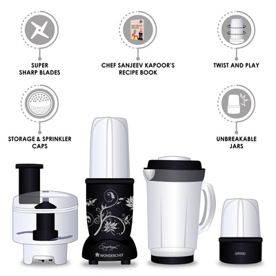 Nutri-Blend Compact FP (Mixer, Grinder, Chopper, Food Processor), 4 Jars, 400W-Black-Appliances
