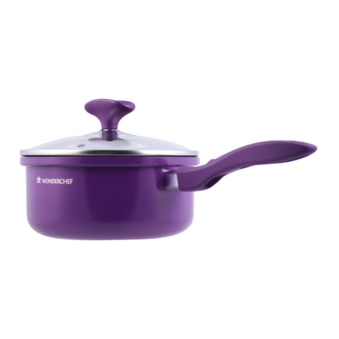 Elite Aluminium Nonstick Sauce Pan with Lid-18cm, 2L, 4mm, Purple