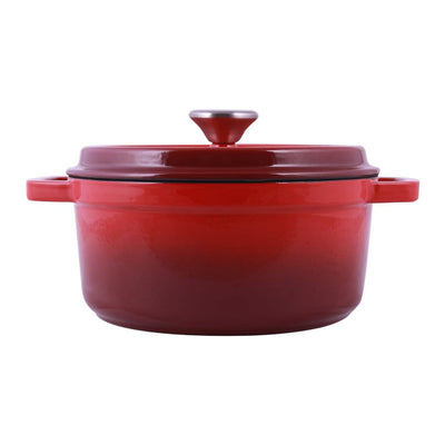 Wonderchef Ferro Cast-iron Casserole with Lid, 3.5mm, Red-Cookware