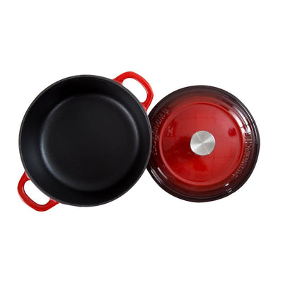 Wonderchef Ferro Cast-Iron 20Cm Casserole With Lid-2L - Red-Cookware