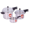 Wonderchef Ruby Induction Base Aluminium Pressure Cooker Combo with Outer Lid, 2, 3, 5L