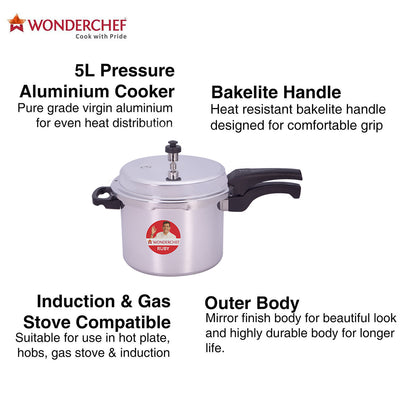 Wonderchef Ruby Induction Base Aluminium Pressure Cooker with Outer Lid-Cookware