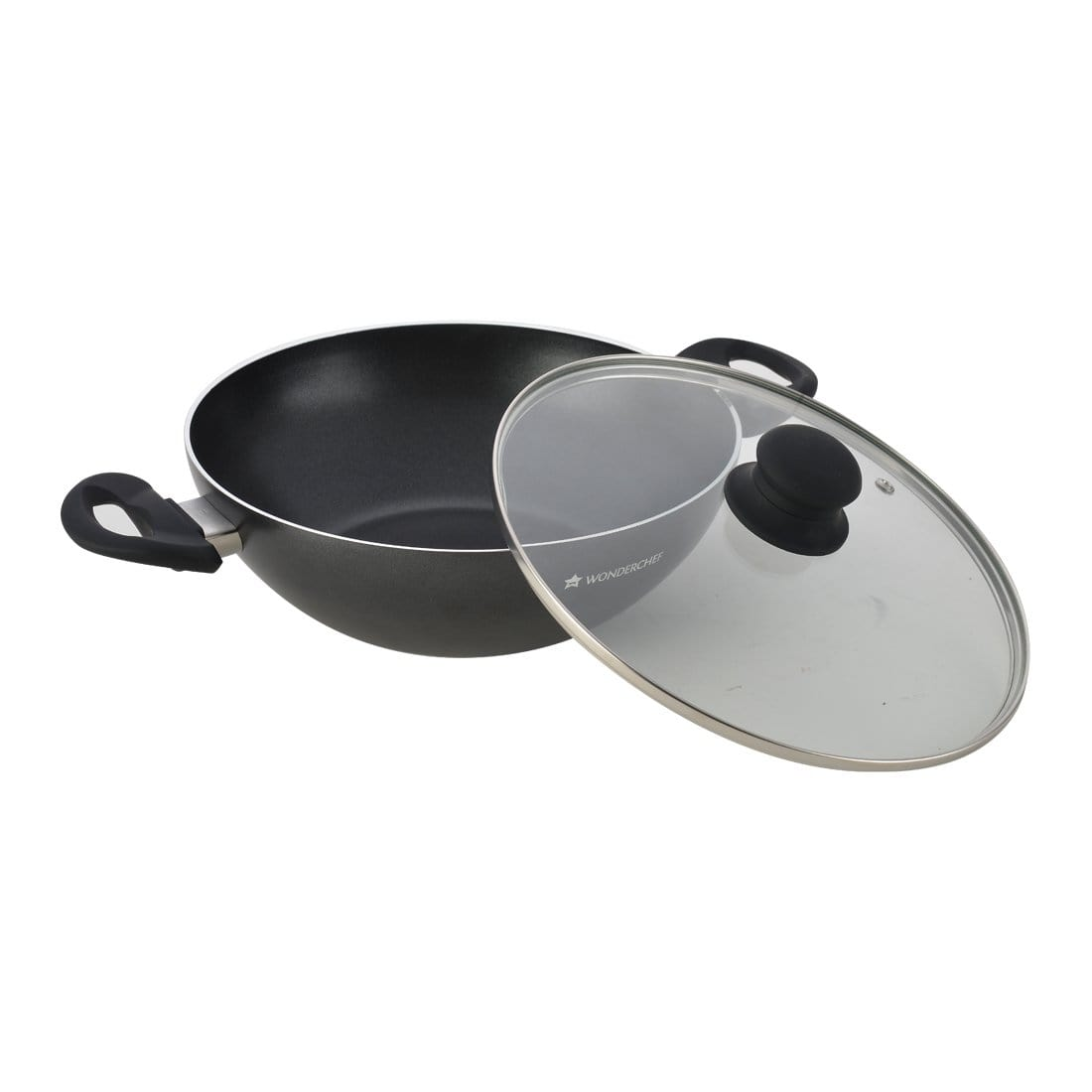 Premia Aluminium Nonstick Wok with Lid- 24cm, 2.5L, 3mm, Black