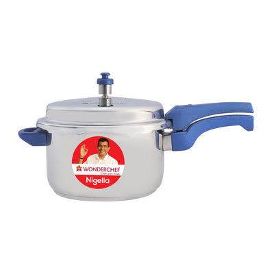 Nigella Induction Base Stainless Steel Pressure Cooker with Outer Lid, Blue, 7L-Cookware