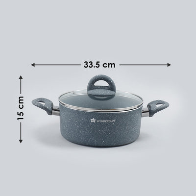 Granite Non-stick Casserole, Induction bottom, Soft-touch handles, Virgin grade aluminium, PFOA/Heavy metals free, 3.5mm, 2 years warranty, Grey-Cookware