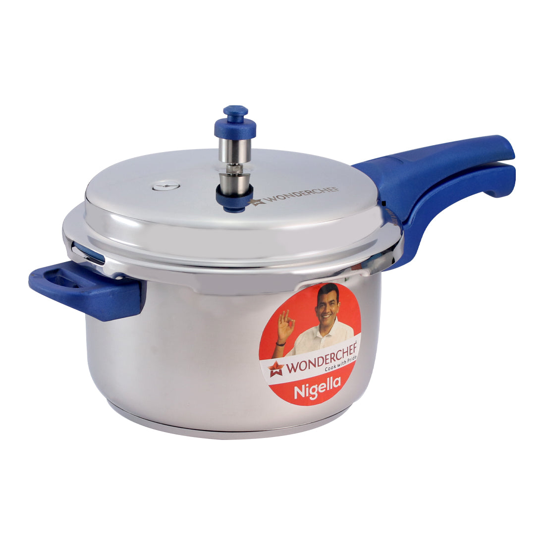 Wonderchef Nigella Induction Base Stainless Steel Pressure Cooker with Outer Lid, Blue, 7L