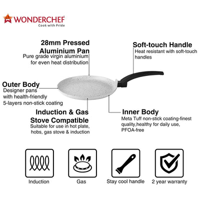 Wonderchef Romano Warm White Dosa Tawa 24cm-Cookware