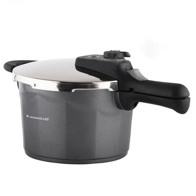 Black Swan Induction Base Die-cast Aluminium Nonstick Pressure Cooker with Outer Lid, 5L, Black-Cookers