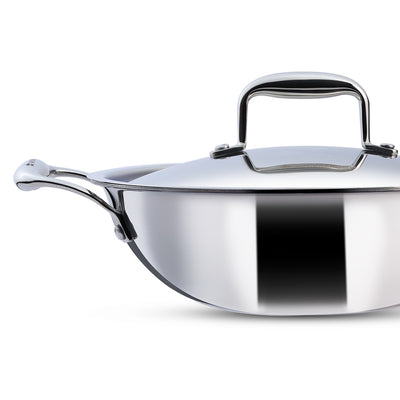 Nigella 3-Ply Stainless Steel Kadhai 24cm, 2.2L, 2.6mm-Cookware
