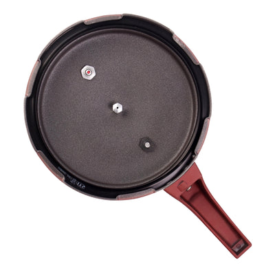 HealthGuard Induction Base Aluminium Nonstick Pressure Cooker with Outer Lid, 5L, Maroon-Cookers