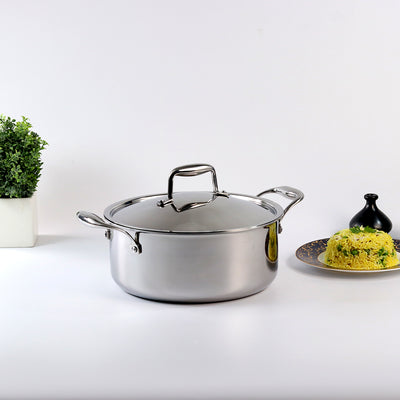 Wonderchef Nigella 3-Ply Stainless Steel Casserole 24cm-Cookware