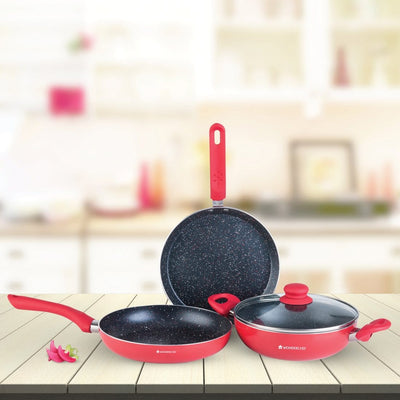 Milano Aluminium Nonstick Cookware Set, 4Pc, Red-Hot-Sets