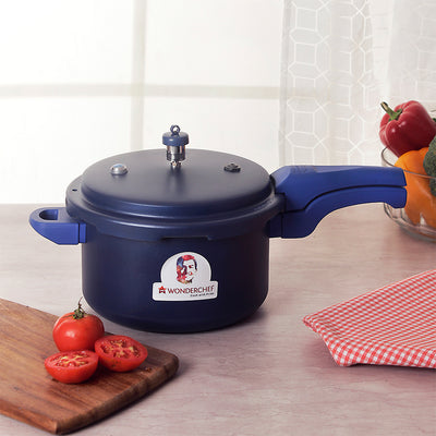 HealthGuard Induction Base Aluminium Nonstick Pressure Cooker with Outer Lid, 5L, Blue-Cookers