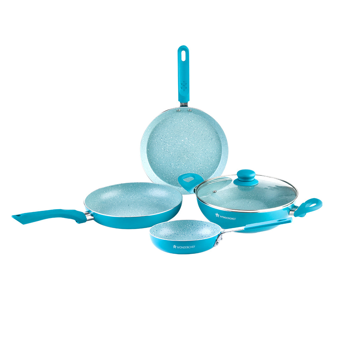 Royal Velvet Aluminium Nonstick Cookware Set, 5Pc, Aqua