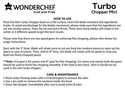 Wonderchef Appliances Wonderchef Turbo-Chopper-Mini