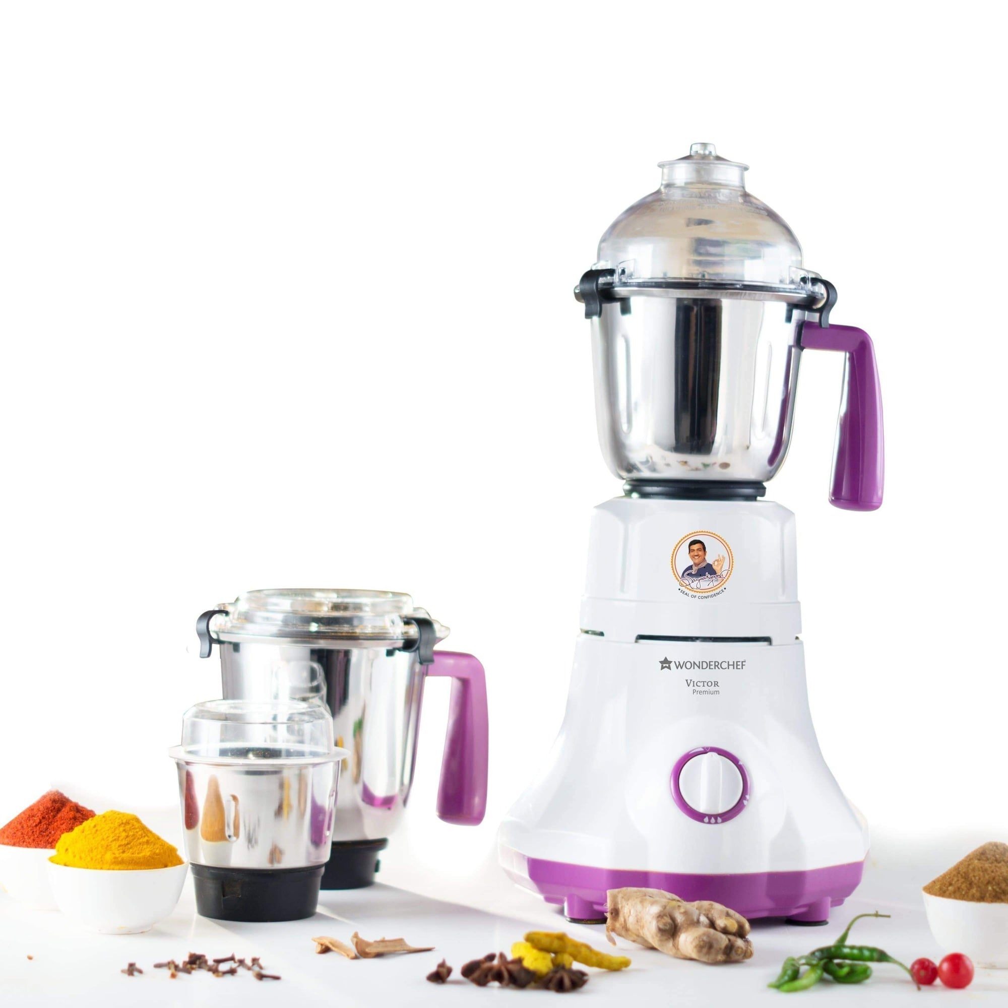 Victor Premium 750W Mixer Grinder with 3 Jars (White and Purple)