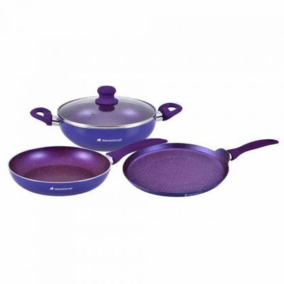 Blueberry Aluminium Nonstick Cookware Set, 4Pc, Blue-Cookware