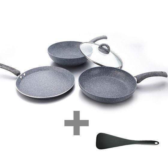 Wonderchef Granite Set With Free Dosa Tawa 26Cm Worth Rs 1400/- + Waterstone Black Silicone Solid Spatula
