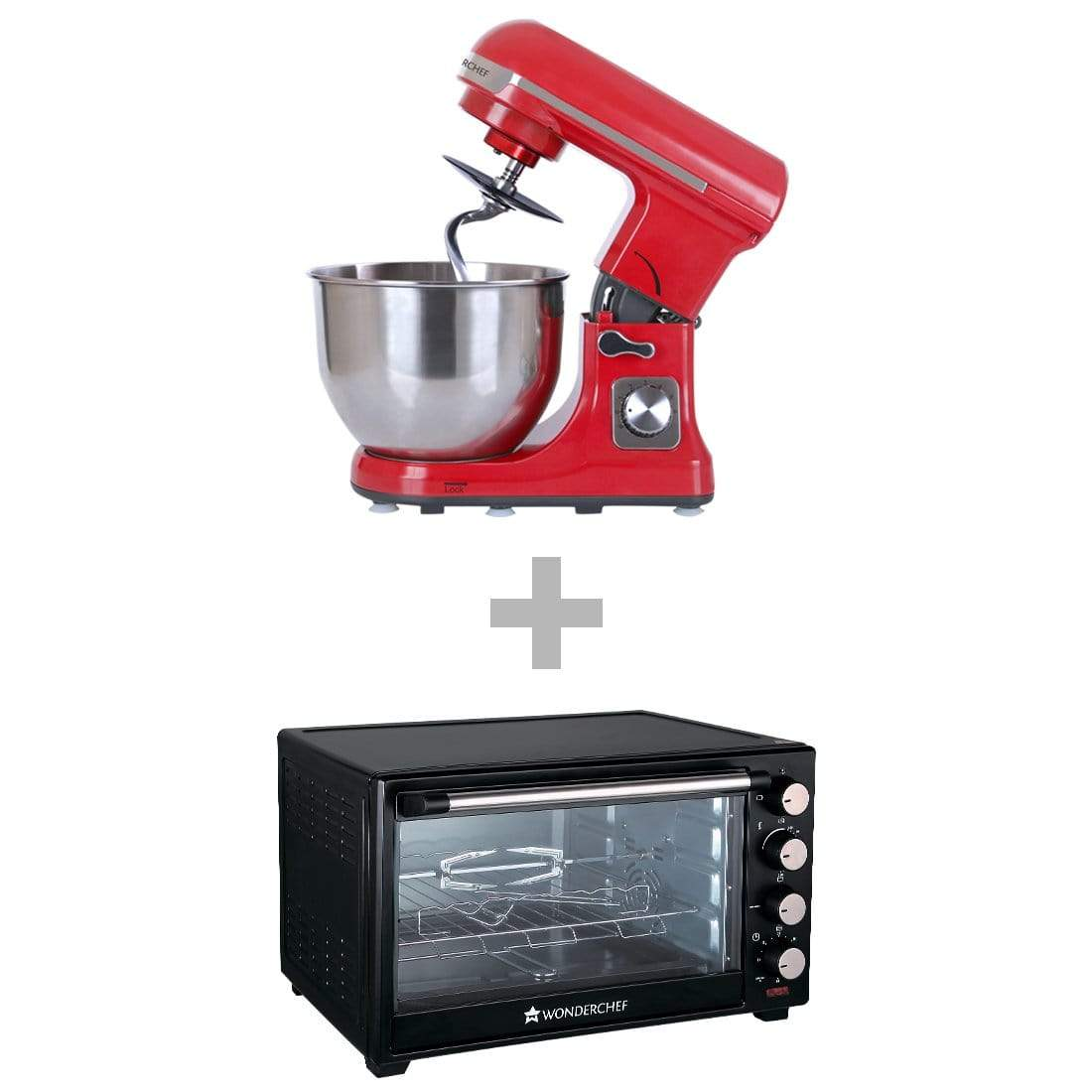 Wonderchef Stand Mixer Red + Oven Toaster Griller Otg 28L