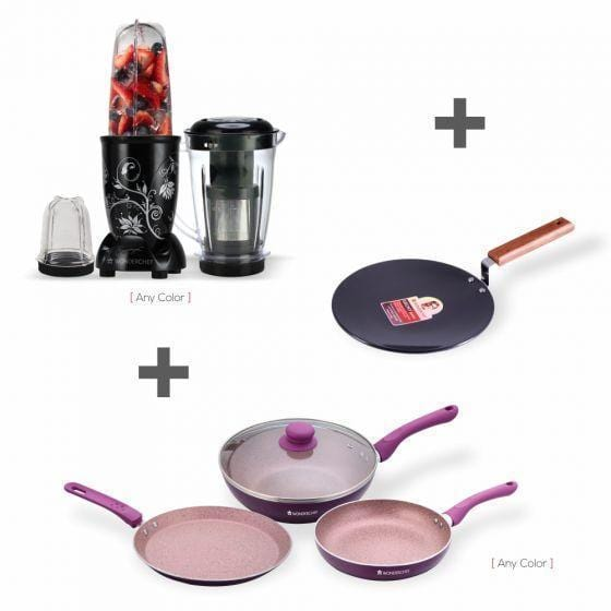 Wonderchef Combo Roma (Wonderchef Nutri-Blend Black With Juicer + Rv Plus Set + Ebony Roti Tawa 25 Cm-4.88 Mm)