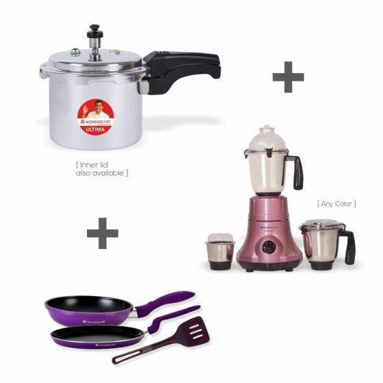 Wonderchef Combo York (Wonderchef Premium 750W Mixer Grinder-Blue+Ultima Inner Lid Pressure Cooker 3L+3 Pc Elite Fd Set)
