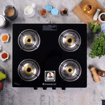 Wonderchef Power 4 Burner Glass Cooktop-Cookware